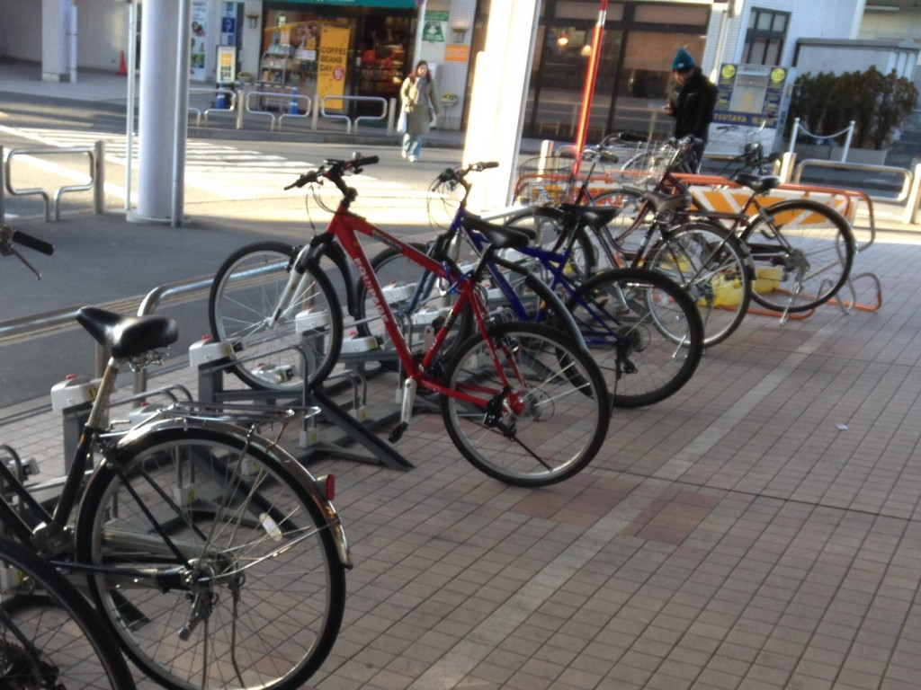 My red bike stands out in the sea of black and silver bikes here, making it easy to find.