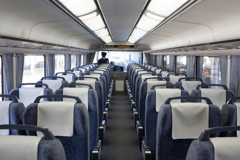 Interior of local train to Matsumoto