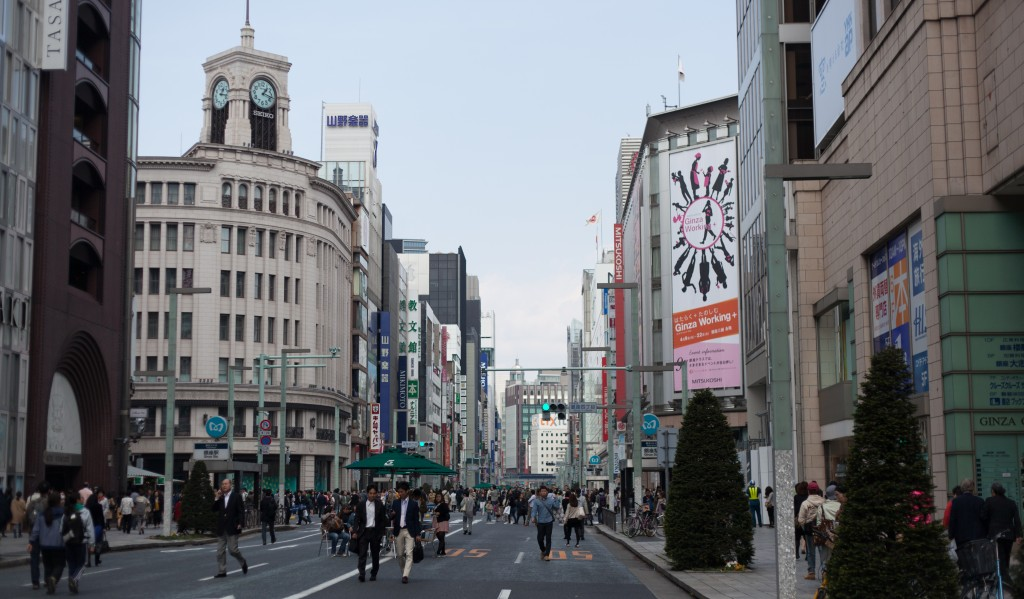 The main street through Ginza closes to traffic after noon on Saturdays